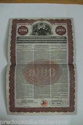 Gold Bond with Coupons 1930 German Government International Loan