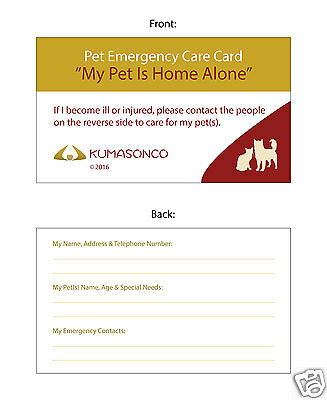 Dog/Cat Home Alone Pet Emergency ID Wallet Medical Alert Cards starting at $4.50