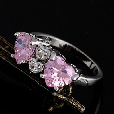 New 925 Sterling Silver Filled Twin Pink Cubic Zirconia Hearts Ring For Women