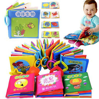 Baby's Educational Intelligence Development Soft Cloth Learn Cognize Books 3pcs