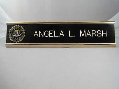 Vintage Authentic Field Used Fbi Desk Name Plate