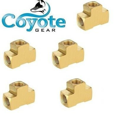 "5 Pack Lot: 1/8"" New Brass Tee Extruded Female Pipe Size NPT Fittings FNPT, QTY"