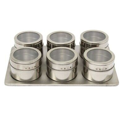 7 Magnetic Spice Jar Set Rack Holder Seasonings Containers Condiments Storage PK