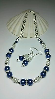 Handcrafted Royal Blue & White Glass Pearl Rhinestone Necklace Earrings Set