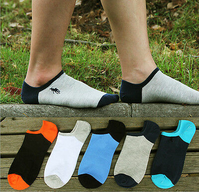 5 Pairs Summer Mens Cotton Socks Lot Crew Ankle Low Fashion Casual Dress Socks