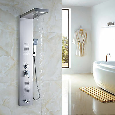 Stainless Rain Waterfall Shower Panel Massage Jets Tub Shower Faucet Set