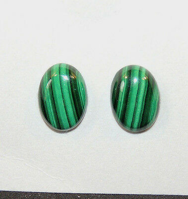Malachite 14x10mm with 4.5mm dome Cabochons Set of 2 (10453)