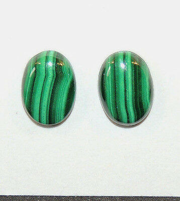 Malachite 14x10mm with 4.5mm dome Cabochons Set of 2 (10454)