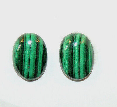 Malachite 14x10mm with 4.5mm dome Cabochons Set of 2 (10455)