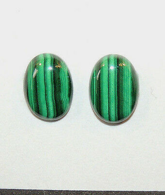 Malachite 14x10mm with 4.5mm dome Cabochons Set of 2 (10458)