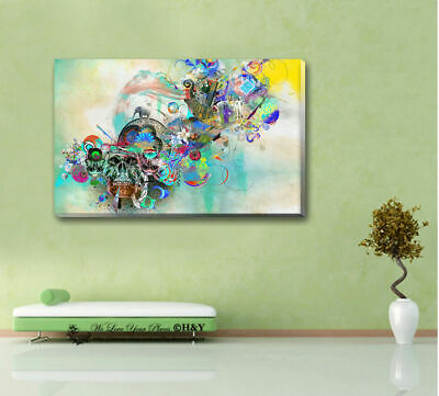 Skull Abstract Pattern Stretched Canvas Print Framed Wall Art Home Decor Gift