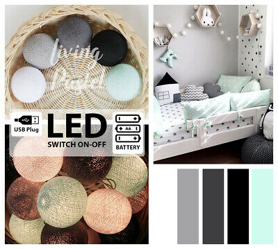4M PASTEL & GREY BLACK COTTON BALL LED BATTERY STRING LIGHTS - Baby & Kid's room