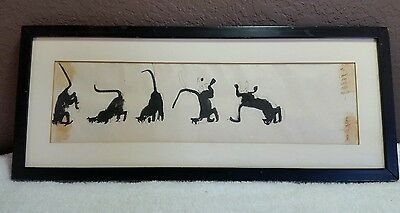 Rare Antique Signed Chinese Black Cats Wall Panel Art Piece