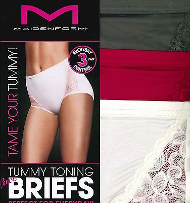 New Maidenform Ladies Tummy Toning Briefs 3 Pack Nylon Lace Style #131749