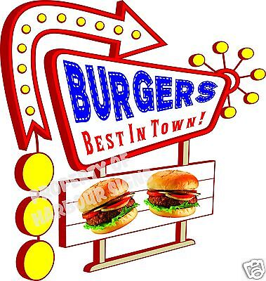 "Burgers Decal 14"" Hamburgers Food Truck Restaurant Concession Vinyl Menu Sign"