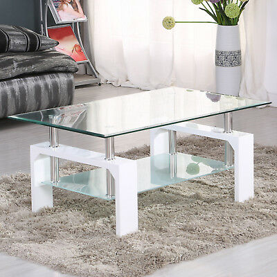 Modern White Glass Coffee Table Rectangular Shelf Chrome Living Room Furniture