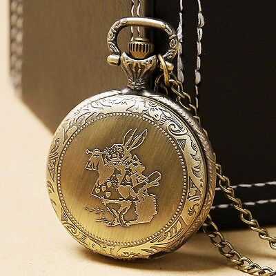 Xmas Gift Alice In Wonderland MR.Rabbit Bronze Quartz Pocket Watch Necklace New
