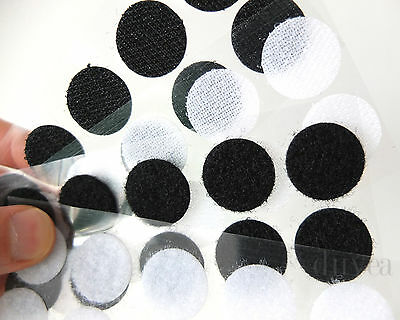 Hook & Loop Sticky Dots Self Adhesive Touch Fasteners 20mm Black White Coins
