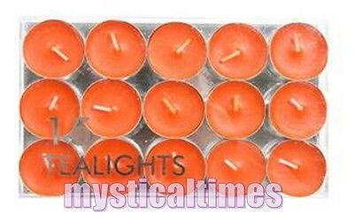 New * Orange * Pack Of 15 Tea Light Tealight Candles From Village Candle