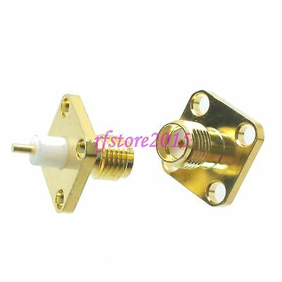 1pce Connector SMA female jack 4-holes Flange solder Panel mount PTFE RF COAXIAL