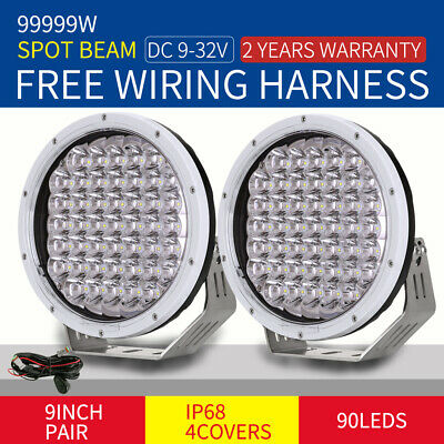 9inch 99999W Cree Round LED Driving Light Off Road 4X4 Spotlights Black Work HID