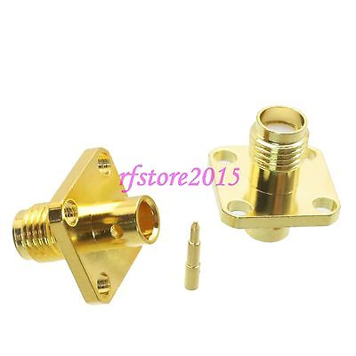 """1pce Connector RP-SMA female plug Flange solder RG402 0.141"""" cable RF COAXIAL"""