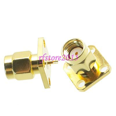 1pce Connector RP-SMA male 4-holes Flange solder Panel mount straight RF COAXIAL