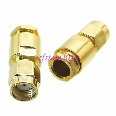 1pce Connector RP-SMA male jack clamp RG58 RG142 LMR195 RG400 COAXIAL straight