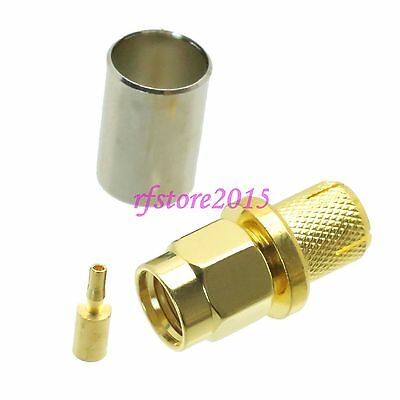 1pce Connector RP-SMA male jack crimp RG5 RG6 5D-FB LMR300 RF COAXIAL straight