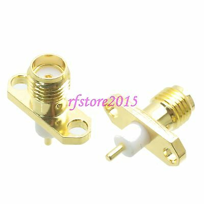1pce Connector SMA female jack 2-holes Flange solder Panel mount PTFE RF COAXIAL