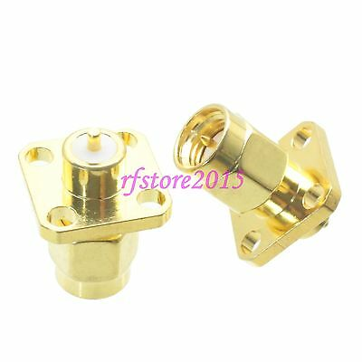 1pce Connector SMA male 4-holes Flange solder Panel mount PTFE RF COAXIAL