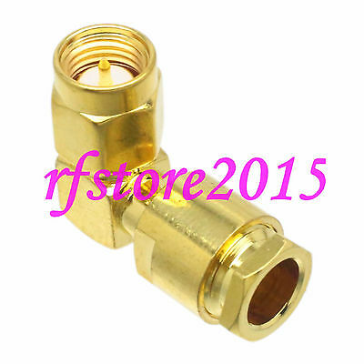 1pce Connector SMA male plug clamp RG58 RG142 LMR195 RG400 COAXIAL Right angle