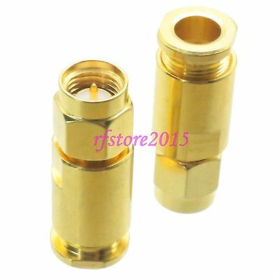 1pce Connector SMA male plug clamp RG58 RG142 LMR195 RG400 RF COAXIAL straight