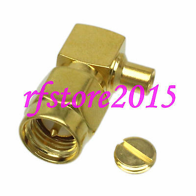 "1pce Connector SMA male plug solder RG405 0.086"" cable RF COAXIAL Right angle"