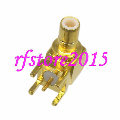 1pce Connector SMB male plug solder PCB mount RF COAXIAL Right angle