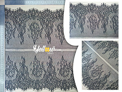 """Beautiful Double Sided Scalloped Eyelash Lace Trim 2.74 Mtr/Piece 45cm/18"""" Wide"""