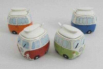 Split Screen Camper Van Sugar Bowl With Lid And Spoon Various Colours