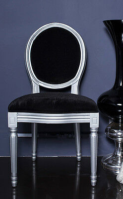 French Louis Side Chair Silver Black Antique Dressing Shabby Bedroom Dining