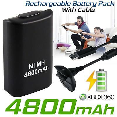 Ni-MH 3600mAh RECHARGEABLE BATTERY+USB CHARGER CABLE For XBox 360 Controller UK