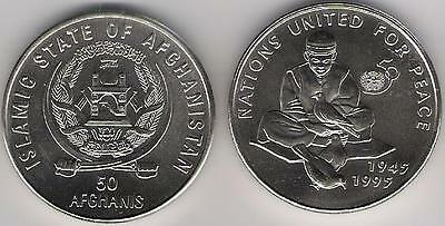 Afghanistan 50 Afghanis 1996 1995 United Nations UNC