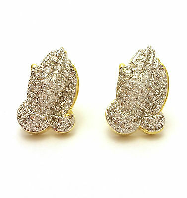 New Mens Lab Diamond Yellow 18K Gold Finish Praying Hand Stud Earrings Set