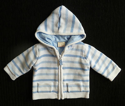 Baby clothes BOY 3-6m white/blue hooded knitted cotton-lined jacket/cardigan
