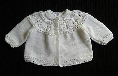 Baby clothes BOY GIRL 6-9m NEW white hand-knit soft patterned cardigan SEE SHOP