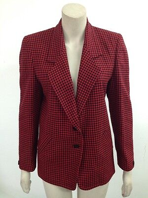 Vintage - Alexon - Red/Black Houndstooth Smart Blazer Jacket Size Uk 10 (S973)