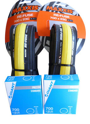 2x YELLOW Maxxis Re-Fuse Folding Tyre 700 X 23c (PAIR) + Tubes. Refuse Road Bike