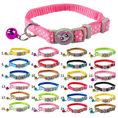 Cute Quick Release Nylon Cat Dog Collars With Bell Safety For Small Kitten Puppy
