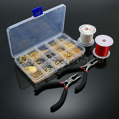 Jewellery Making Starter Kits Gold Plated  Pin Lobster Clasps Bead Cap Chain Set