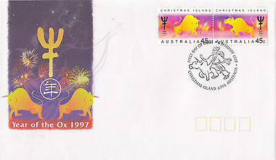 Christmas Island 1997 Year of the Ox FDC (Set of 2)