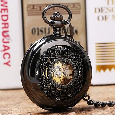 New Steampunk Black Hollow Mechanical Hand Wind Pendant Chain Pocket Watch Gift