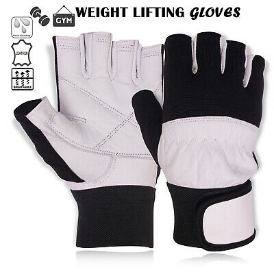 Weight Lifting Leather Gloves Body Building Gym Fitness Training Gloves